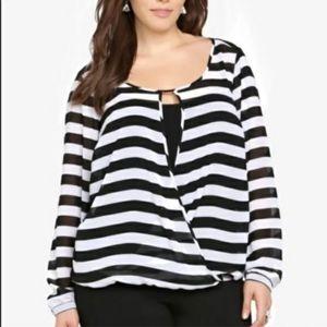 Torrid Black and White Striped  Faux Wrap Blouse